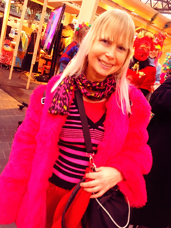 lady in pink coat